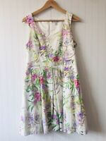 Forever New Size 14 White Purple Green Floral Fit Flare Dress Corporate Cocktail
