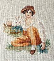 "Vtg 13"" Boy and Rabbit Henry Raeburn Needlepoint Petit Point Pro Cherry Framed"