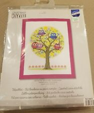 """New Vervaco DIY Embroidery Kit - LITTLE OWLS TREE - Finished 9.2"""" x 12"""""""