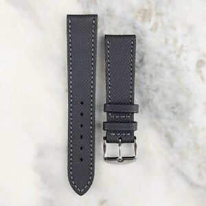 Genuine Water Resistant Coated Calfskin Leather Watch Strap - Grey - 20mm/22mm