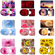 3pcs Rose Floral Violet Toilet Covers Set Rug Lid Bathroom Mats Non Slip Padded
