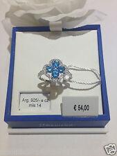 Anello donna argento 925% anallergico BLU AMANTE zirconi bianco azzurro mis 14