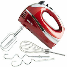 VonShef Hand Food Mixer with Electric Whisk Beaters Dough Hooks 5 Speed Red