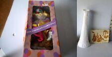 Lot of 3 Porcelain Clown Doll, Etched Milk Glass Bud Vase, & Ceramic Coaster