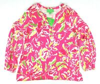 NEW Pappagallo Womens (L) Tropical Pink Floral Multi Long Sleeve Blouse NWT $79