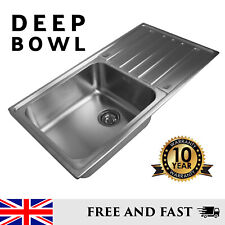 Extra Deep Single Bowl and Drainer Inset Stainless Steel Kitchen Sink Reversible