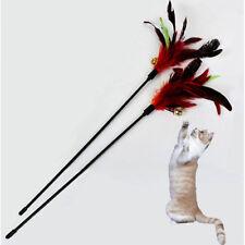 2pcs Pet Cat Toy Kitten Dangler Rod Wand Teaser Teasing Feather Bell Funny Stick