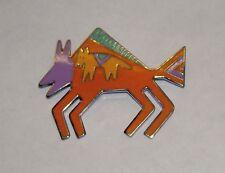 """Vintage LAUREL BURCH Dog on Bison """"Bison"""" Enamel Cloisonne Silver Pin Brooch"""