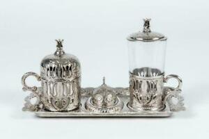 Traditional Handmade Turkish Arabic Coffee Serving Set Tray Handcrafted Silver