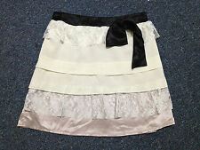 skirt size 8 s small white cream lace panel mini short black belt waist satin
