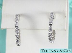 Rare Vintage Tiffany & Co Platinum 3.50ct Round Diamond Screw Back Hoop Earrings
