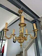 Lustre ancien 5 feux style Louis XVI Bronze massif Diam  50cm