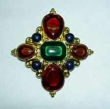 Vintage JAY STRONGWATER Jeweled Pendant Scarf Slider Maltese Cross Enamel Charm