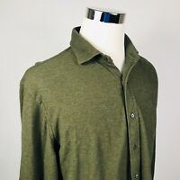 Polo Ralph Lauren Mens XL Knit Button Front Shirt Dark Green Cotton Recent Label