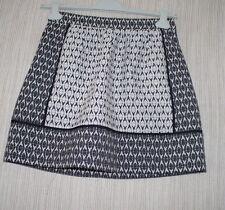 J.Crew Black White Print Pleated Cotton Viscose Exposed Gold Zipper Skirt Size:2