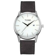 TOMI Simple Style Men Male's Analog Quartz Watch Round Dial PU Strap Wrist Watch