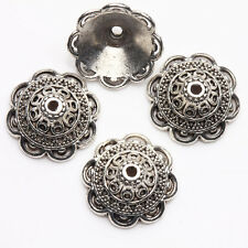 10PCS Tibet Silver Flower Spacer Bead End Caps DIY Jewelry Making Acces