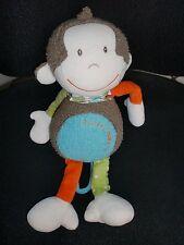 doudou peluche singe marron bleu vert orange Little Monkey BABYSUN 35cm