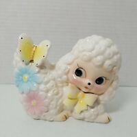 Vintage Ceramic Baby Lamb Sheep Planter Bow Flowers Spring