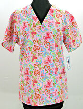 Womens Scrub Top NEW XS V Neck Side Slits Pink Hearts Best Medical Runs Large