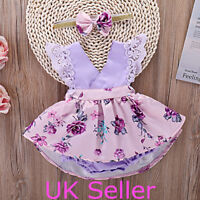 Newborn Baby Girls Summer Clothes Outfits Floral Romper Jumpsuit Dress Headband