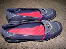 Womens GRASSHOPPERS Navy Blue Canvas Slip On Wedge Shoes Sz 7.5 7 1/2 EUC Sienna