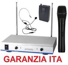 RADIO MICROFONI WIRELESS senza fili  VHF archetto + gelato COMBO palestra canto