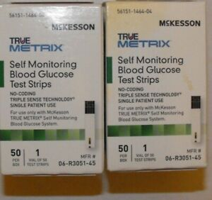 100 MCKESSON BLOOD GLUCOSE TEST STRIPS 2 BOXES OF 50 EXP. 11-30-2021