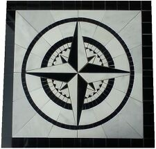 Floor Medallion Marble Square Mosaic Compass Star White Carrara 48 inch