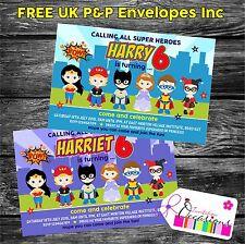 Personalised Birthday Invitations Superhero and Princess Party x 5