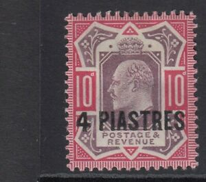 British Levant 1902/5 KEVII 4pi/10d - NO CROSS ON CROWN SG10a - Mounted mint