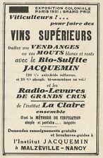 W6110 Vins supèrieurs avec le Bio-Sulfite Jacquemin - Pubblicità 1934 - Advert.