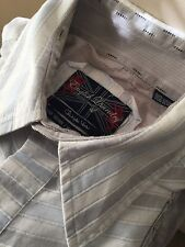 ENGLISH LAUNDRY Christopher Wicks Size XL Embroidered White & Gray Striped Shirt