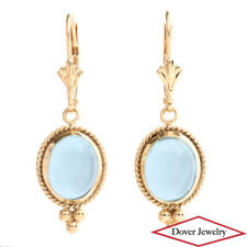 Designer CARLA Aquamarine 14K Yellow Gold Dangle Drop Earrings NR