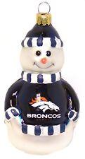 "DENVER BRONCOS NFL Licensed Blown Glass Snowman Ornament VERY CUTE 5"""