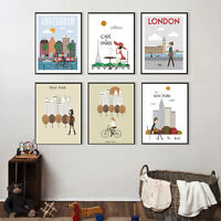 Metropolitan Life Canvas Poster Cartoon Landscape Art Print Home Wall Decor