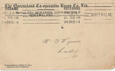 Stamp Australia Queensland Co-operative Bacon Co cover 1914 roller postmark