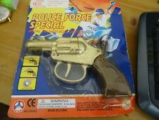 CHILDRENS 5 INCH LONG METAL TOY CAP GUN, POLICE FORCE SPECIAL, UNOPENED