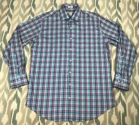 Peter Millar Men's Long Sleeve Button Up Shirt Summer Comfort Check Size L Large