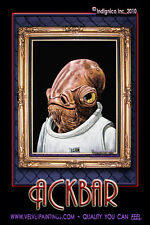 STAR WARS ART: Black Velvet Painting of ADMIRAL ACKBAR by a Velvet Elvis artist