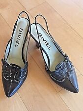 BIVIEL Black & White Leather Embroidered Pointed Slingback Heels 38 7.5 8 8.5