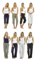 Womens Ladies Linen Trousers Full Length 3/4 Capri Short Pants UK Size 10-18