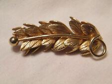Bar Pin Leaves Nice Stunning Textured Gold Brooch