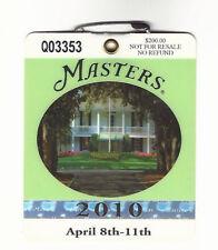 2010 Masters Augusta National Golf Club Badge Ticket Phtil Mckelson Wins PGA
