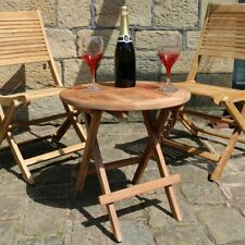 Solid TEAK Round Folding Picnic Table Outdoor Garden Furniture or Conservatory