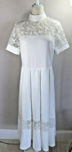 White Pleated Lace Dress - EUR L - Size 16-18 - New No Tags