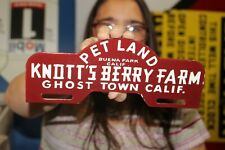 Knott's Berry Farm Ghost Town License Plate Topper Gas Oil Porcelain Metal Sign