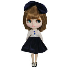 Blythe Nude Doll from Factory Brown Gold Short Hair Make-up Eyebrow Sleeping Eye