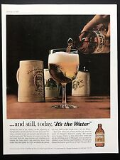 1961 Vintage Print Ad OLYMPIA BEER Pour Mug Glass Bottle Image