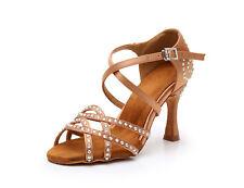 Ballroom Latin Dance Shoes Adult Salsa Dancing Black Brown 3 Inch Flared Heel